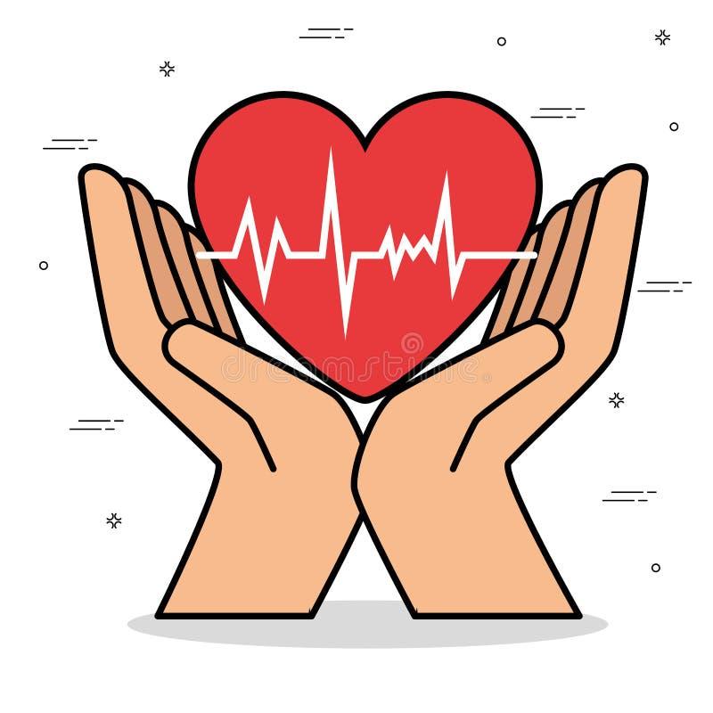 Υγιές σχέδιο έννοιας τρόπου ζωής καρδιών απεικόνιση αποθεμάτων