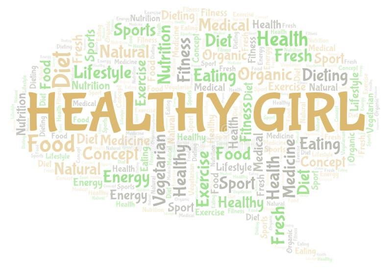 Υγιές σύννεφο λέξης κοριτσιών ελεύθερη απεικόνιση δικαιώματος