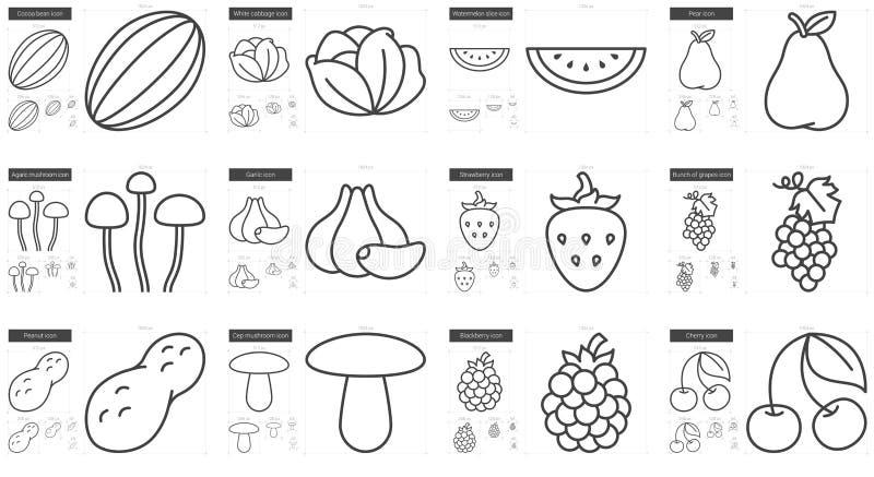 Υγιές σύνολο εικονιδίων γραμμών τροφίμων απεικόνιση αποθεμάτων