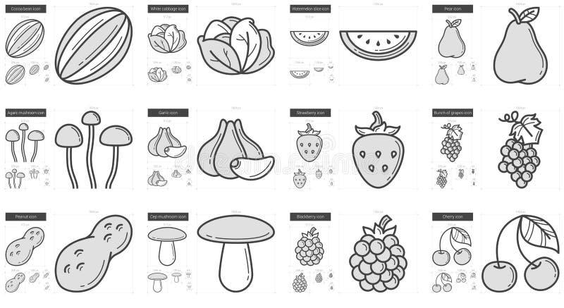 Υγιές σύνολο εικονιδίων γραμμών τροφίμων ελεύθερη απεικόνιση δικαιώματος