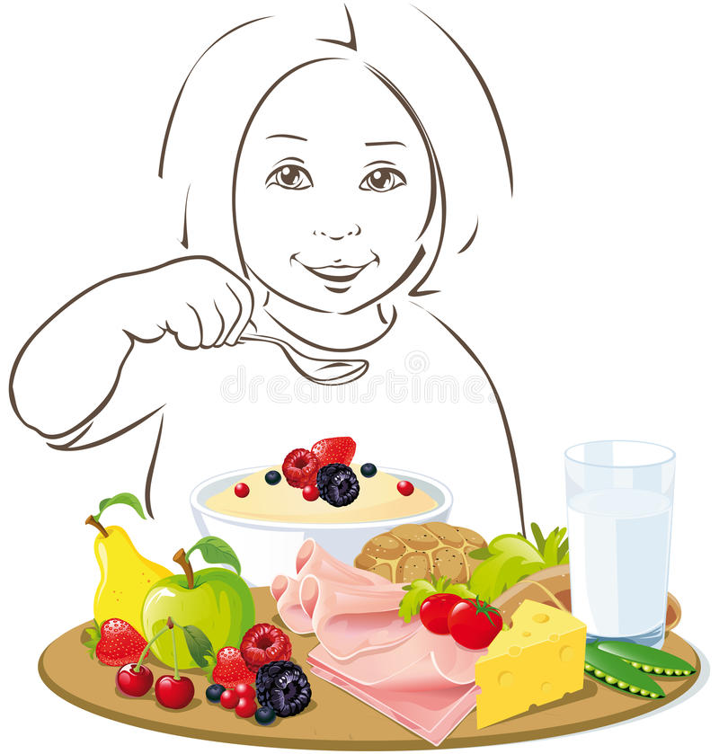 Υγιές τρώγοντας παιδί - απεικόνιση απεικόνιση αποθεμάτων