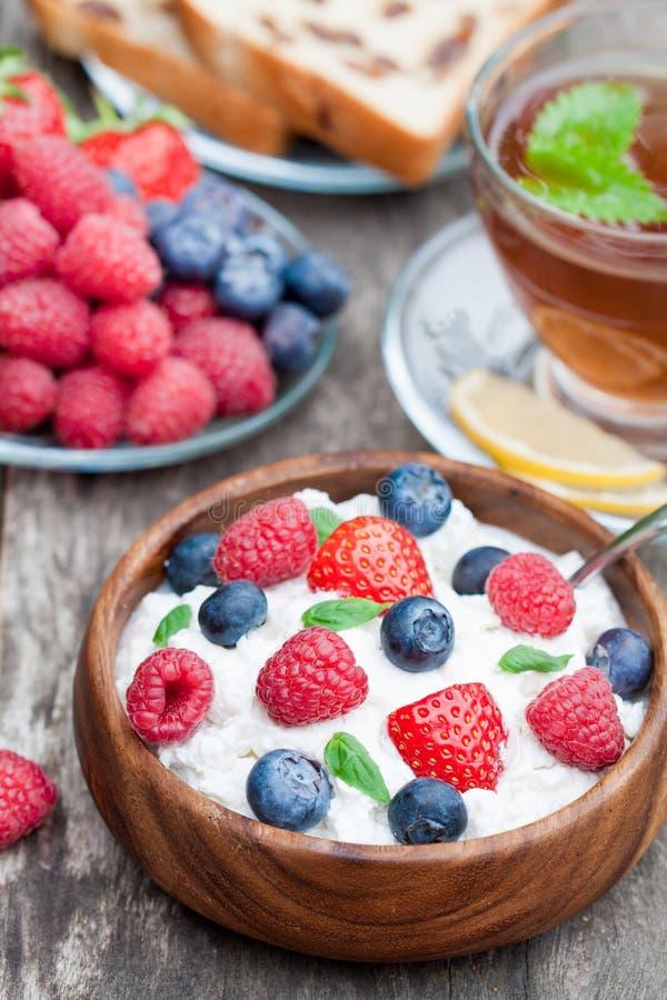 Υγιές τυρί εξοχικών σπιτιών προγευμάτων με τα μούρα και melissa το τσάι στοκ εικόνα με δικαίωμα ελεύθερης χρήσης