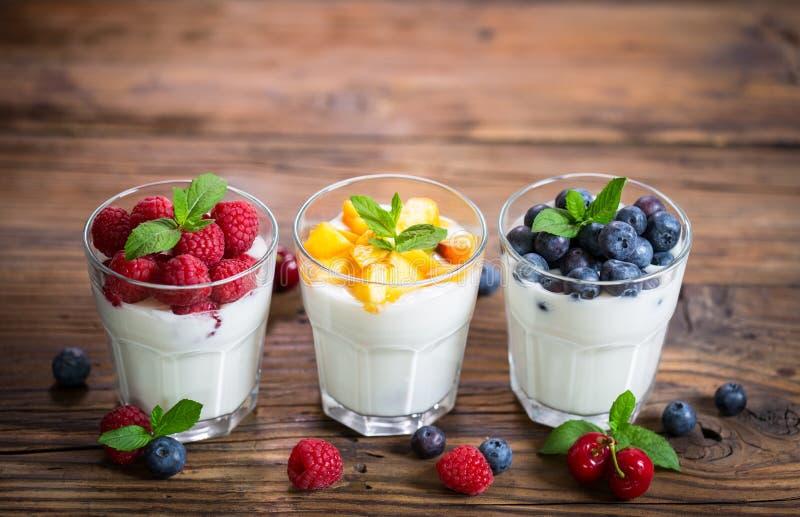 Υγιές φρέσκο γιαούρτι προγευμάτων με τα φρούτα μούρων στοκ εικόνα με δικαίωμα ελεύθερης χρήσης