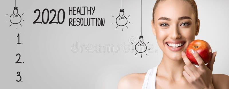 2020 υγιές ψήφισμα με τον κενό πίνακα ελέγχου και την ευτυχή γυναίκα στοκ φωτογραφία με δικαίωμα ελεύθερης χρήσης