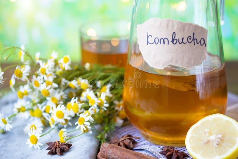 Υγιές kombucha τσαγιού με το λεμόνι και την κανέλα Συνταγή για σπιτικό Kombucha στοκ φωτογραφίες