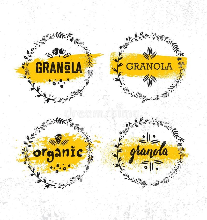 Υγιές Vegan πρόχειρων φαγητών Granola στοιχείο σχεδίου τροφίμων διατροφής δημητριακών διανυσματικό Οργανική χειροποίητη έννοια ελεύθερη απεικόνιση δικαιώματος