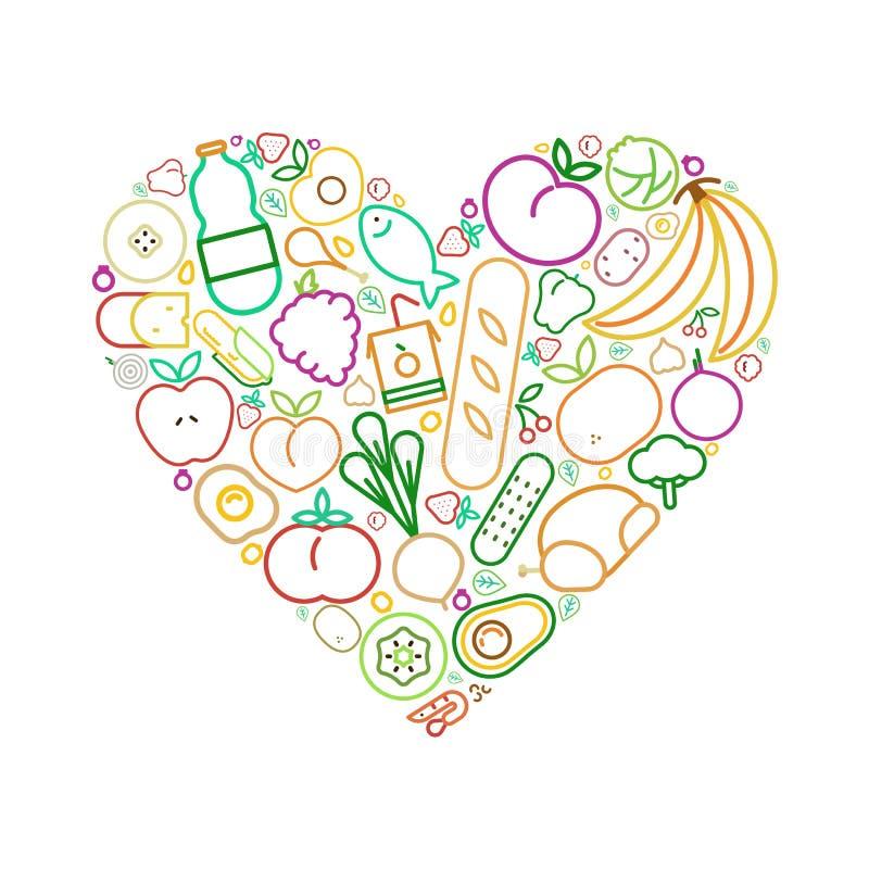 Υγιής έννοια αγάπης κατανάλωσης καρδιών εικονιδίων τροφίμων γραμμών απεικόνιση αποθεμάτων