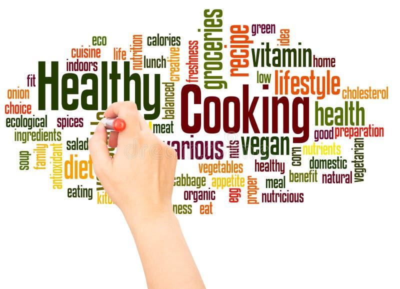 Υγιής έννοια γραψίματος χεριών σύννεφων λέξης μαγειρέματος απεικόνιση αποθεμάτων