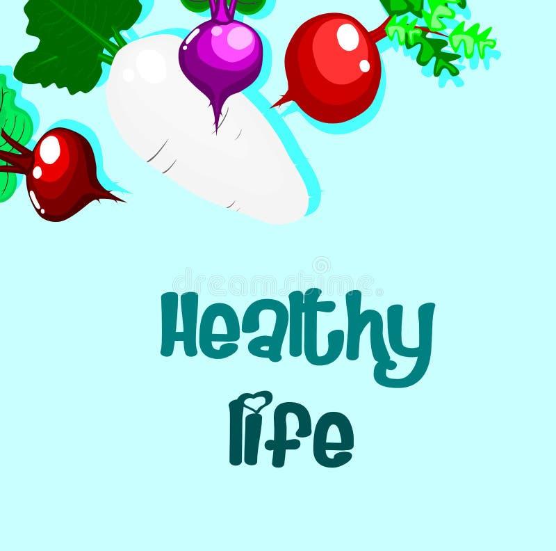 Υγιής έννοια ζωής, καλή ζωή, ραδίκι με το μπλε υπόβαθρο ελεύθερη απεικόνιση δικαιώματος