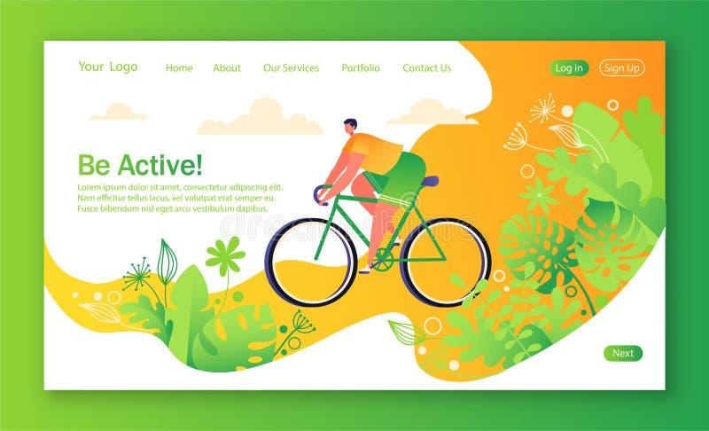 Υγιής έννοια τρόπου ζωής για τον κινητό ιστοχώρο, ιστοσελίδας Οδηγώντας άτομο ποδηλάτων ελεύθερη απεικόνιση δικαιώματος