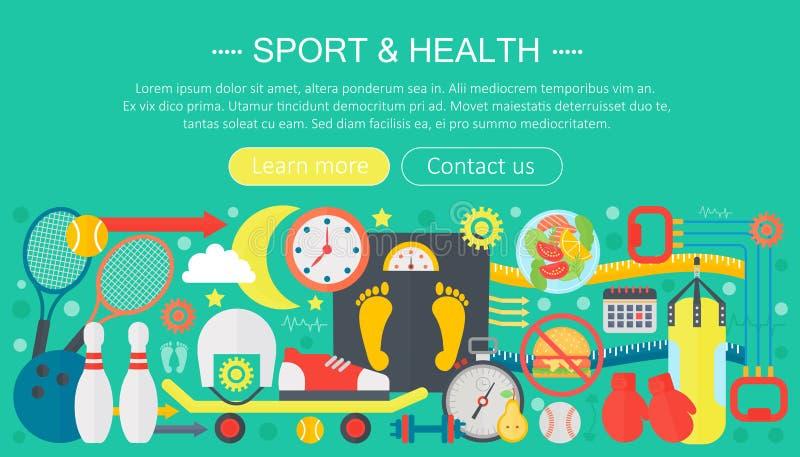 Υγιής έννοια τρόπου ζωής με τα εικονίδια τροφίμων και αθλητισμού Αθλητισμός και επίπεδο σχέδιο επιγραφών προτύπων infographics έν διανυσματική απεικόνιση