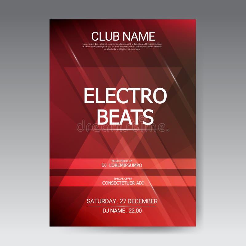 Υγιής αφίσα κομμάτων EDM μουσικής Ηλεκτρονική μουσική διασκέδασης λεσχών Μουσικός ήχος έκστασης disco γεγονότος Πρόσκληση κομμάτω ελεύθερη απεικόνιση δικαιώματος