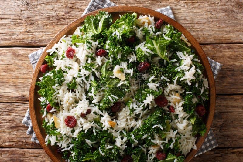 Υγιής βιταμίνη Kale με το ρύζι και κινηματογράφηση σε πρώτο πλάνο των βακκίνιων σε ένα πιάτο οριζόντια τοπ άποψη στοκ εικόνα