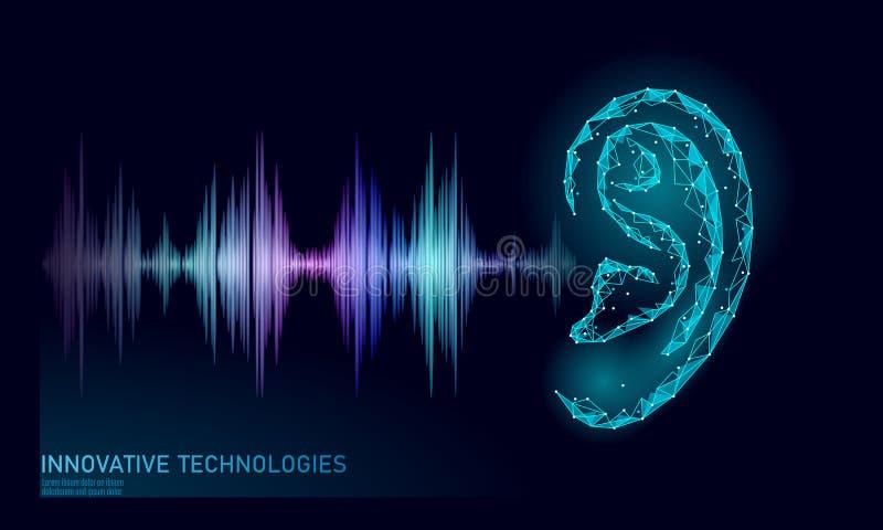 Υγιής βοηθητικός χαμηλός πολυ φωνής αναγνώρισης Polygonal τρισδιάστατος πλέγματος Wireframe δίνει το αυτί το υγιές ραδιο κύμα και διανυσματική απεικόνιση