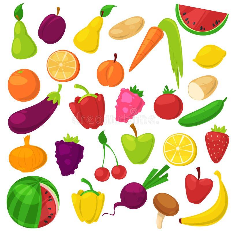 Υγιής διατροφή λαχανικών φρούτων της fruity μπανάνας και vegetably του καρότου μήλων για τους χορτοφάγους που τρώνε τη οργανική τ διανυσματική απεικόνιση