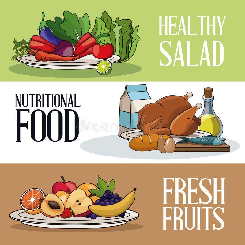 Υγιής διατροφή τροφίμων φυλλάδιων φρέσκια διανυσματική απεικόνιση