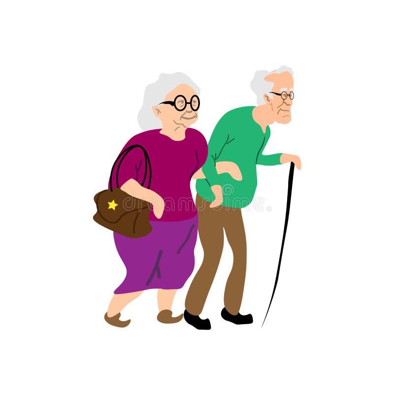 Υγιής ενεργός συνταξιούχος τρόπου ζωής για τους παππούδες και γιαγιάδες Χαρακτήρες ηλικιωμένων ανθρώπων Οικογένεια παππούδων και  διανυσματική απεικόνιση
