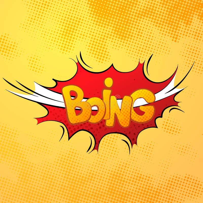 Υγιής επίδραση comics Boing με το ημίτονο σχέδιο σε κίτρινο ελεύθερη απεικόνιση δικαιώματος