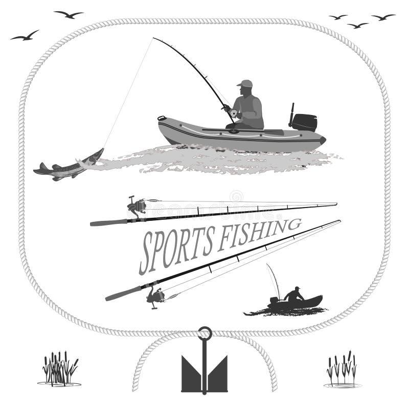 Υγιής ζωή στη φύση και την αλιεία διανυσματική απεικόνιση