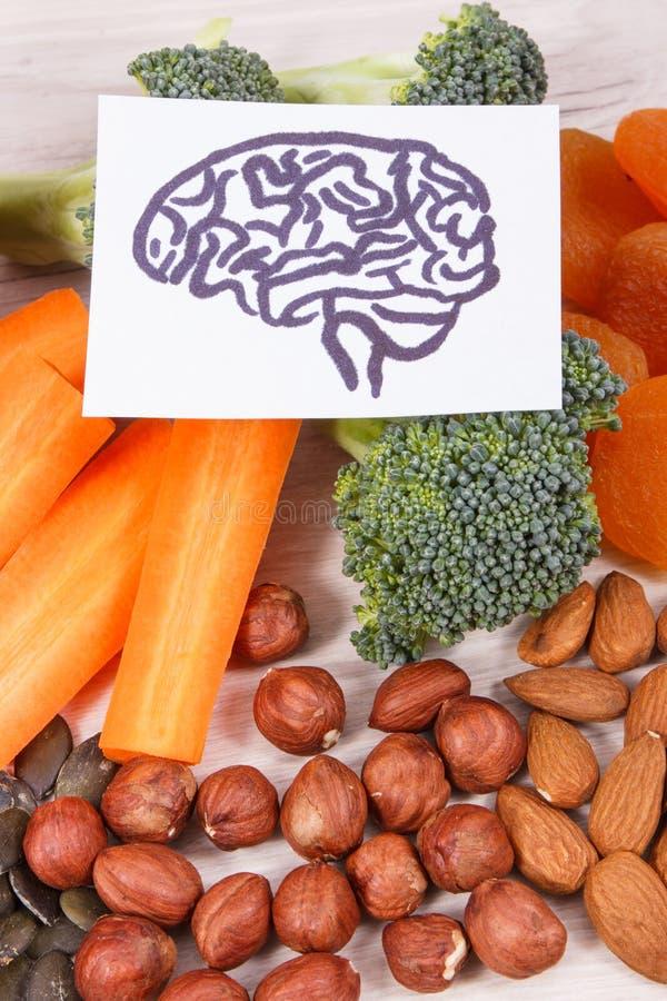 Υγιής θρεπτική κατανάλωση ως βιταμίνη πηγής και ανόργανα άλατα, τρόφιμα για την έννοια υγείας εγκεφάλου στοκ εικόνες
