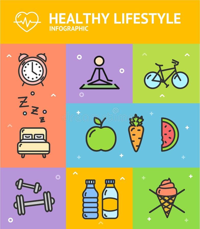 Υγιής κάρτα εμβλημάτων Infographic διατροφής διάνυσμα διανυσματική απεικόνιση