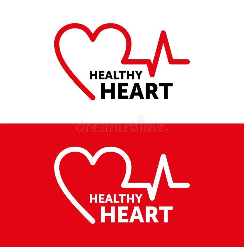 Υγιής καρδιά λογότυπων διανυσματικό σχέδιο γραμμών κόκκινη απεικόνιση r διανυσματική απεικόνιση