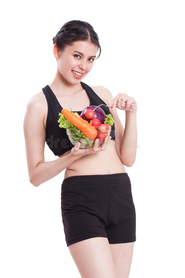 Υγιής κατανάλωση, ευτυχής νέα γυναίκα με τα λαχανικά στοκ φωτογραφίες με δικαίωμα ελεύθερης χρήσης