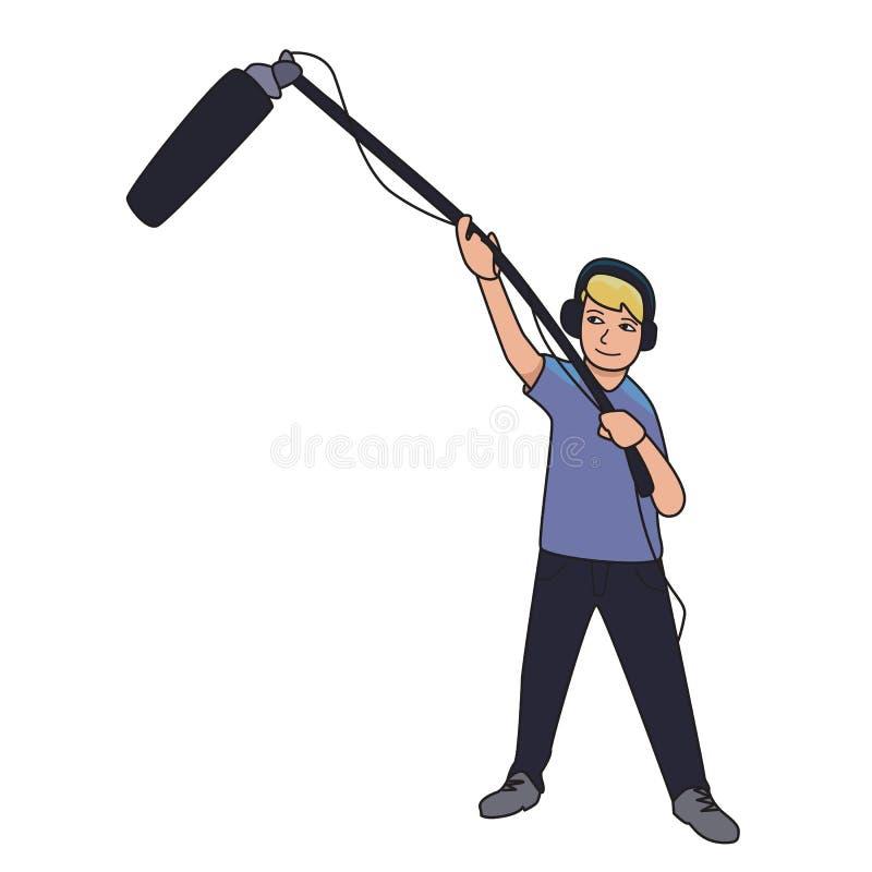 Υγιής μηχανικός, δημοσιογράφος με ένα μικρόφωνο σε ένα μακρύ ραβδί Διανυσματική απεικόνιση κινούμενων σχεδίων που απομονώνεται στ ελεύθερη απεικόνιση δικαιώματος