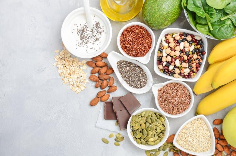 Υγιής να κάνει δίαιτα διατροφής τροφίμων έννοια Η τοπ άποψη, επίπεδη βάζει, αντιγράφει το διάστημα στοκ εικόνες