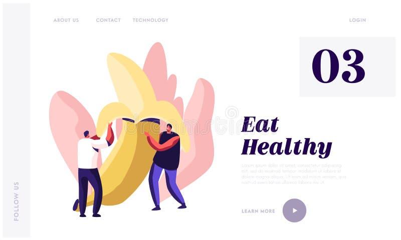 Υγιής προσγειωμένος σελίδα ιστοχώρου τροφίμων, τεράστια ξεφλουδισμένη μπανάνα εκμετάλλευσης νεαρών άνδρων, τρόπος ζωής υγείας, ορ ελεύθερη απεικόνιση δικαιώματος
