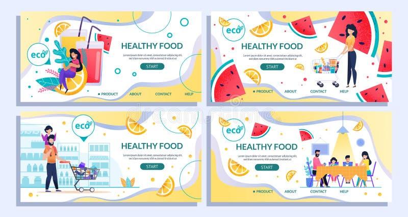 Υγιής προσγειωμένος σελίδα τροφίμων που τίθεται για να ψωνίσει on-line διανυσματική απεικόνιση