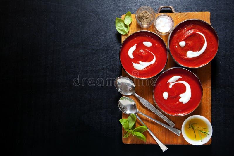 Υγιής σούπα ντοματών με τα φρέσκα φύλλα βασιλικού άλας πιπεριών E στοκ εικόνες με δικαίωμα ελεύθερης χρήσης