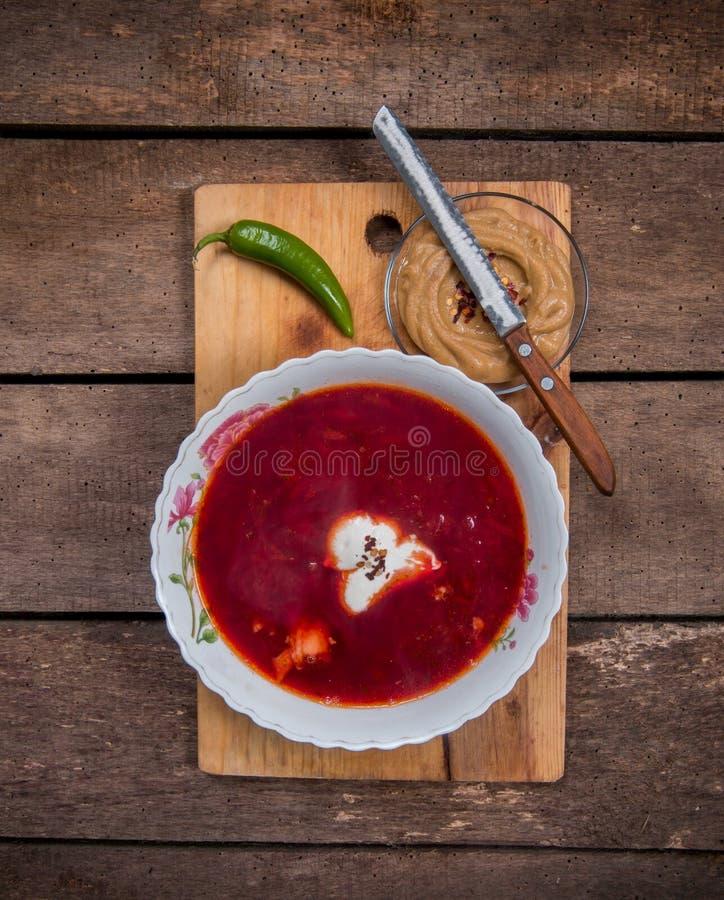 Υγιής σούπα παντζαριών στοκ φωτογραφία
