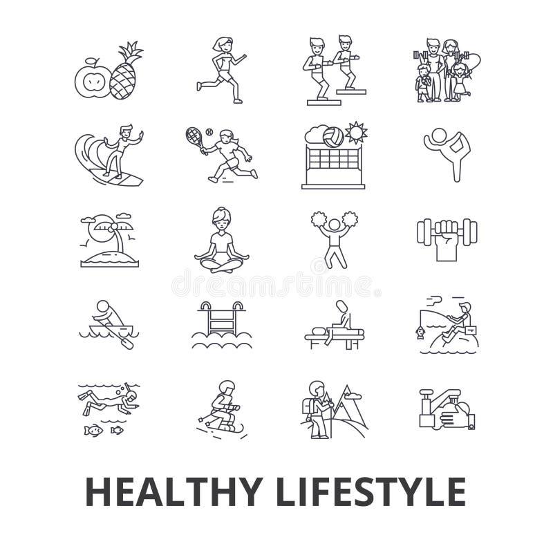 Υγιής τρόπος ζωής, ενεργός διαβίωση, φυσικά τρόφιμα, υγειονομική περίθαλψη, wellness, εικονίδια γραμμών άσκησης Κτυπήματα Editabl απεικόνιση αποθεμάτων