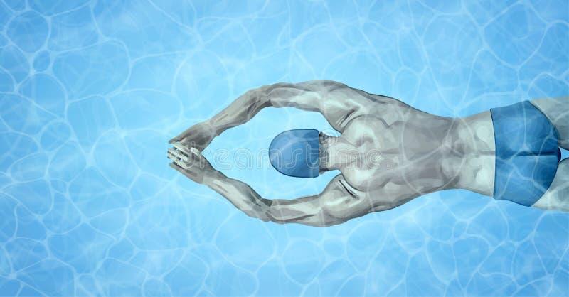 Υγιής τρόπος ζωής Κατάλληλη κατάρτιση κολυμβητών στην πισίνα Επαγγελματικός αρσενικός κολυμβητής μέσα στην πισίνα Σύσταση διανυσματική απεικόνιση