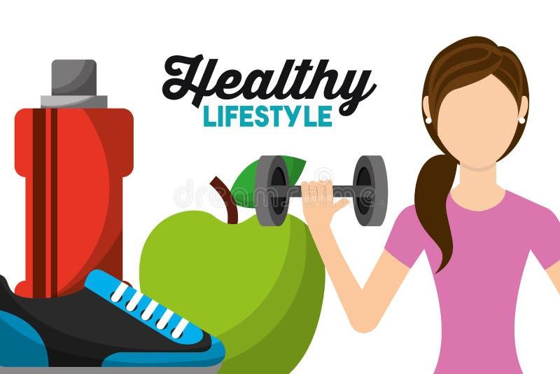 Υγιής τρόπος ζωής νερού πάνινων παπουτσιών και μπουκαλιών μήλων γυναικών αθλητικός ανυψωτικός barbell απεικόνιση αποθεμάτων