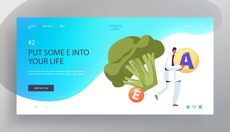 Υγιής τρόπος ζωής, προσγειωμένος σελίδα ιστοχώρου οργανικής τροφής, σφαίρα βιταμινών λαβής χαρακτήρα νεαρών άνδρων στα χέρια, τερ διανυσματική απεικόνιση
