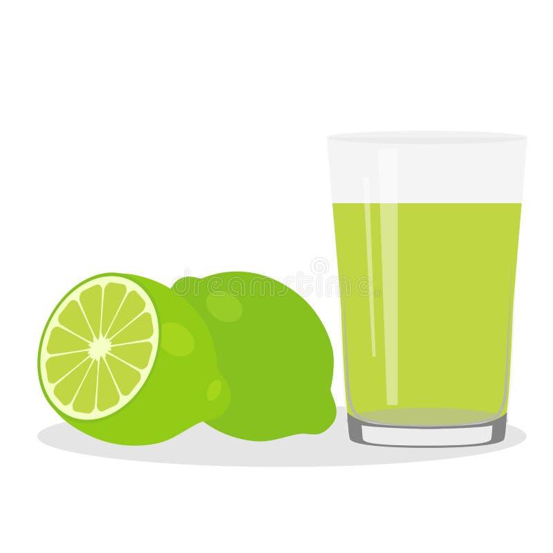 Υγιής τρόπος ζωής Πρόσφατα συμπιεσμένος χυμός σε ένα γυαλί ασβέστης ασβέστης διανυσματική απεικόνιση
