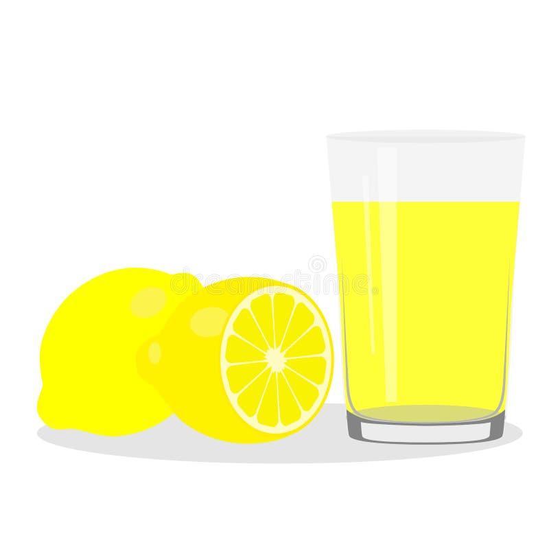 Υγιής τρόπος ζωής Πρόσφατα συμπιεσμένος χυμός σε ένα γυαλί Λεμόνι lem διανυσματική απεικόνιση