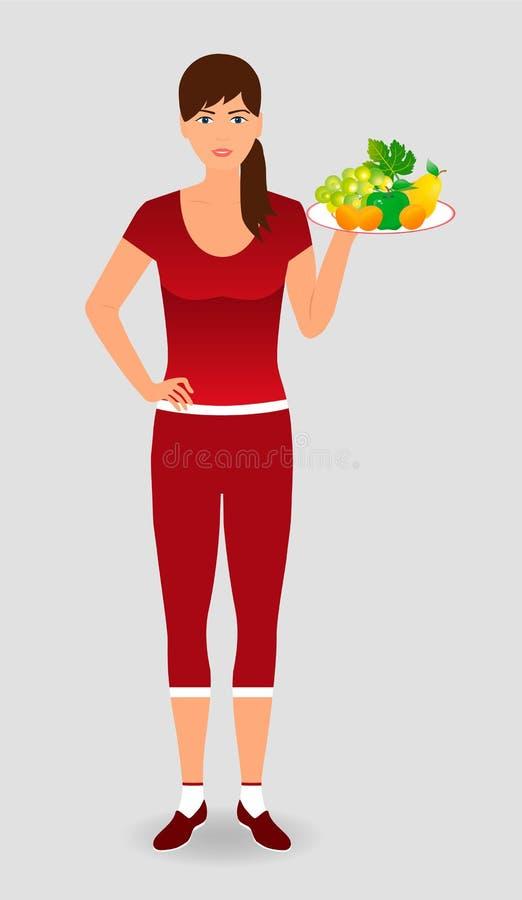 Υγιής φίλαθλος που κρατά έναν δίσκο φρούτων σιτηρέσιο έννοιας υγιει& ελεύθερη απεικόνιση δικαιώματος