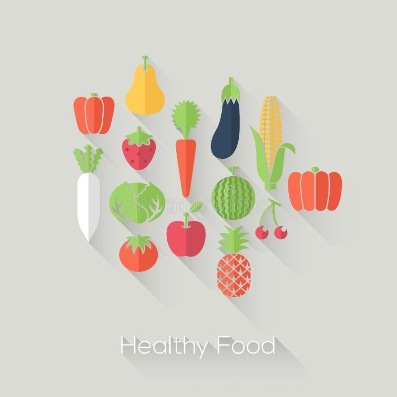 Υγιής φρέσκια έννοια τροφίμων και αγροκτημάτων Επίπεδο ύφος με τις μακριές σκιές Σύγχρονο καθιερώνον τη μόδα σχέδιο απεικόνιση αποθεμάτων