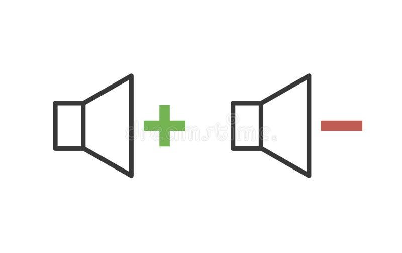 Υγιή εικονίδια διεπαφών ελέγχου με συν και μείον το σημάδι για το volum διανυσματική απεικόνιση