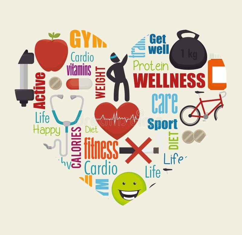 Υγιή εικονίδια τρόπου ζωής Wellness απεικόνιση αποθεμάτων