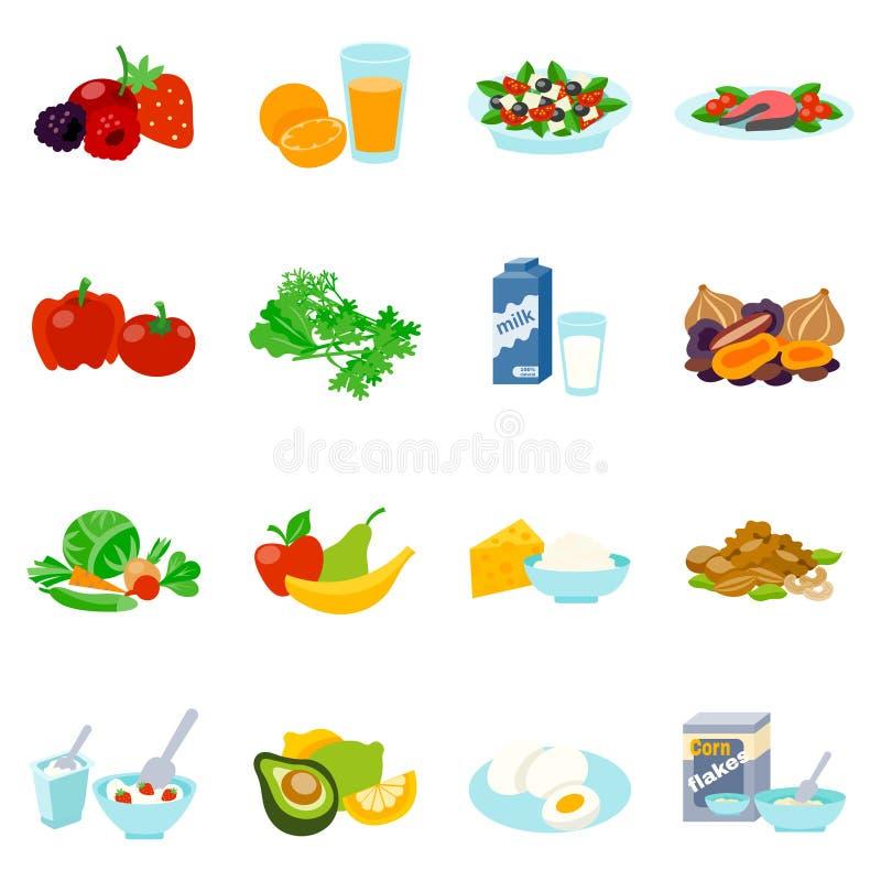 Υγιή επίπεδα εικονίδια τροφίμων καθορισμένα ελεύθερη απεικόνιση δικαιώματος