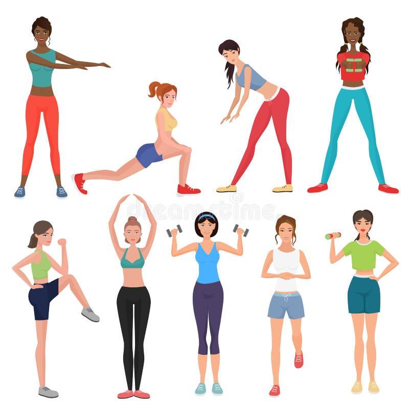 Υγιή κορίτσια αθλητικής ικανότητας καθορισμένα Γυναίκες sportswear με τους αλτήρες, barbells και εργαλεία ικανότητας ελεύθερη απεικόνιση δικαιώματος