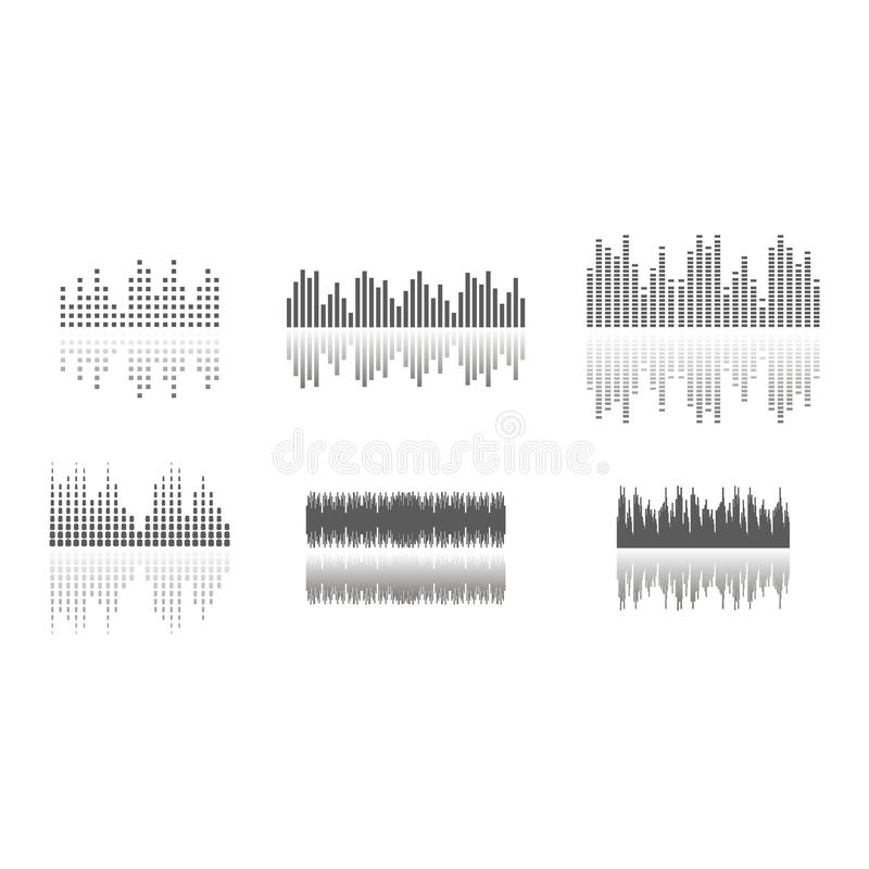 Υγιή κύματα καθορισμένα Ακουστικός φορέας Ακουστική τεχνολογία εξισωτών, σφυγμός μουσικός r ελεύθερη απεικόνιση δικαιώματος