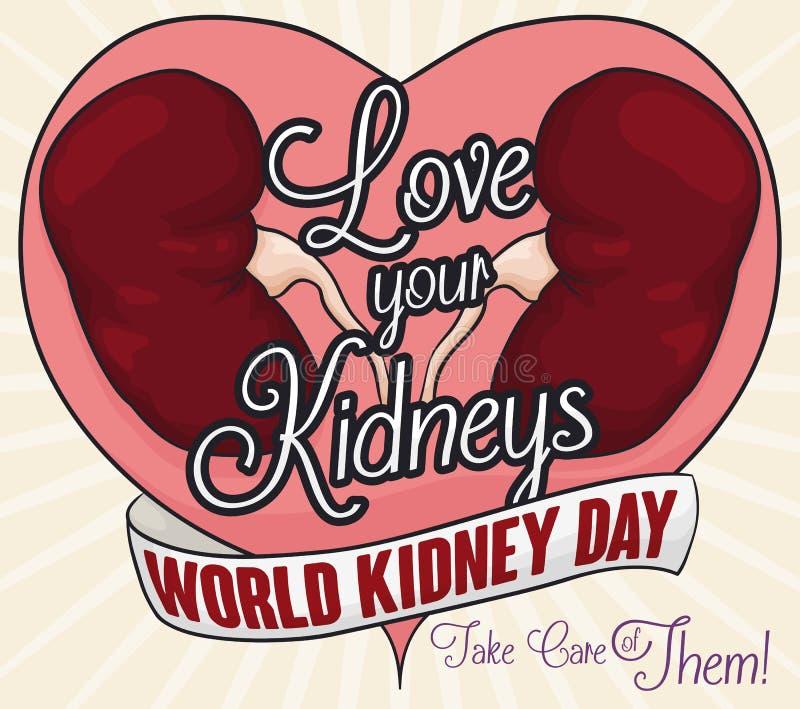 Υγιή νεφρά και μήνυμα χαιρετισμού της αγάπης και της νεφρικής προσοχής, διανυσματική απεικόνιση απεικόνιση αποθεμάτων