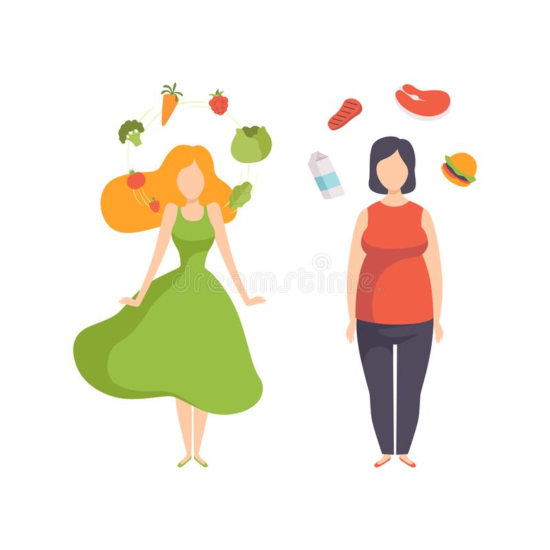Υγιή τρόφιμα εναντίον των ανθυγειινών τροφίμων, της παχιάς και λεπτής γυναίκας, υγιής διανυσματική απεικόνιση έννοιας τρόπου ζωής απεικόνιση αποθεμάτων