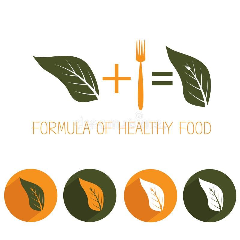 Υγιή τρόφιμα με το φύλλο και το δίκρανο διανυσματική απεικόνιση