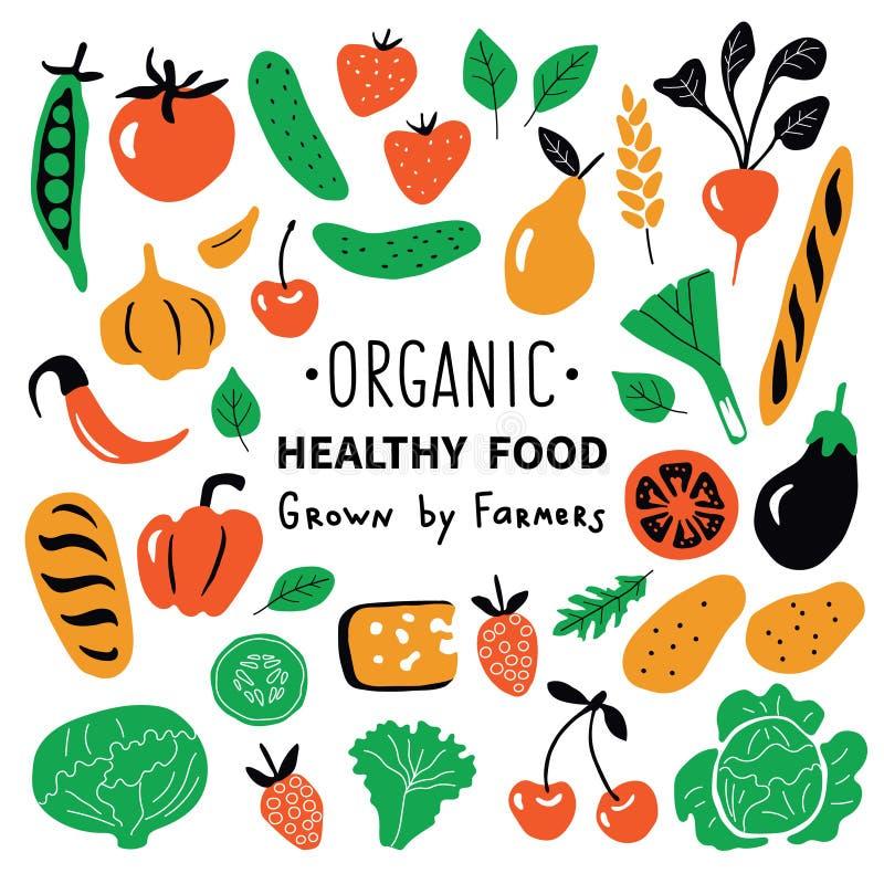 Υγιή τρόφιμα, οργανικά προϊόντα καθορισμένα Αστεία συρμένη χέρι διανυσματική απεικόνιση doodle Χαριτωμένη συλλογή τροφίμων αγροτι ελεύθερη απεικόνιση δικαιώματος